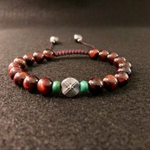 Handcrafted Red Tiger Eye Tribal Bracelet